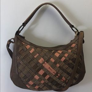 Lucky Brand Taupe Convertable Hobo Leather New